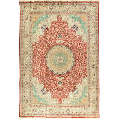 One-of-a-Kind Tabriz Hand-Woven Silk Red/Ivory Area Rug