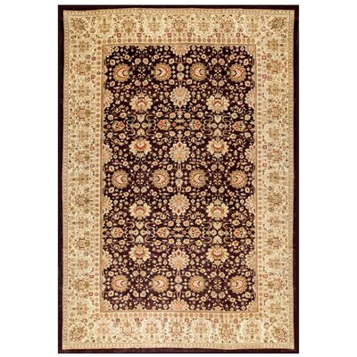 One-of-a-Kind Sultanabad Hand-Woven Wool Aubergine/Cream Area Rug