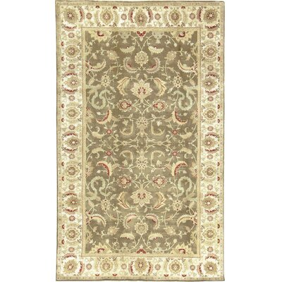 One-of-a-Kind Bikaner Antique Agra Hand-Woven Wool Brown/Ivory Area Rug