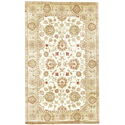 One-of-a-Kind Bikaner Antique Agra Hand-Woven Wool Gold/Ivory Area Rug