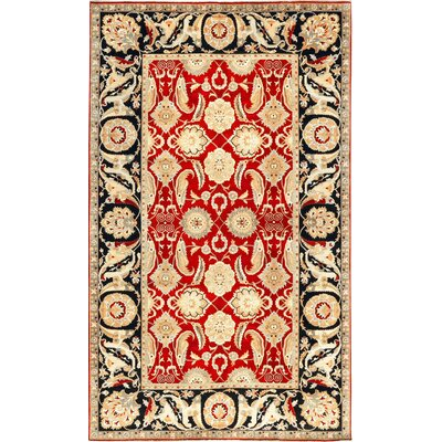 One-of-a-Kind Bikaner Antique Agra Hand-Woven Wool Red/Black Area Rug
