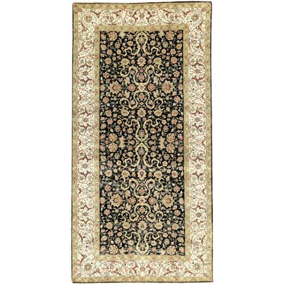 One-of-a-Kind Mountain King Bj-Ii Hand Spun Hand-Woven Ivory/Black Area Rug