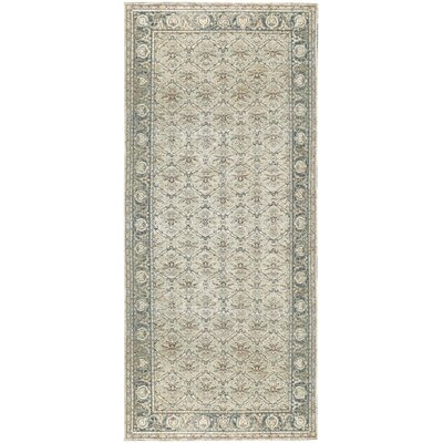 One-of-a-Kind Ziegler Hand-Woven Wool Brown/Light Blue Area Rug
