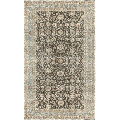 One-of-a-Kind Aberden Tabriz Hand-Woven Wool Brown/Light Blue Area Rug