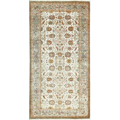 One-of-a-Kind Sona Hand-Woven Wool Cream/Blue Area Rug