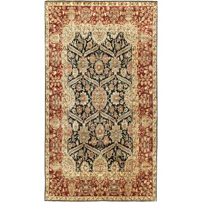 One-of-a-Kind Sona Hand-Woven Wool Black/Cream Area Rug