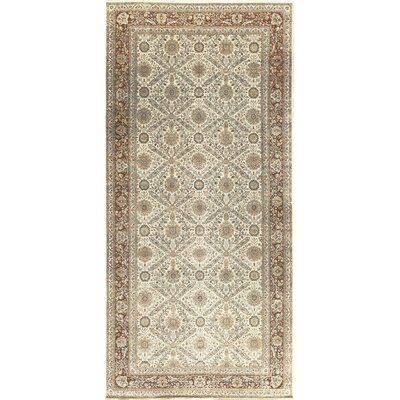 One-of-a-Kind Signature Hand-Woven Wool Beige/Rust Area Rug
