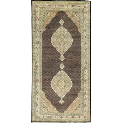 One-of-a-Kind Tabriz Mahi Hand-Woven Black/Ivory Area Rug