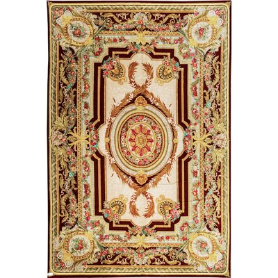One-of-a-Kind Renaissance Savonnerie Hand-Woven Wool Ivory/Beige Area Rug