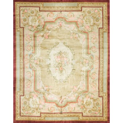 One-of-a-Kind Renaissance Pile Aubusson Hand-Woven Wool Gold/Beige Area Rug