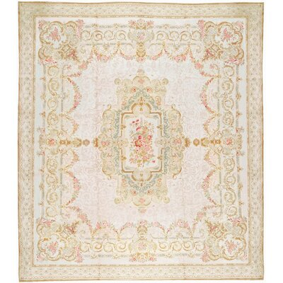 One-of-a-Kind Renaissance Pile Aubusson Hand-Woven Wool Cream/Ivory Area Rug