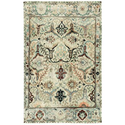One-of-a-Kind Sona Antique Hand-Woven Wool Light Green/Brown Area Rug