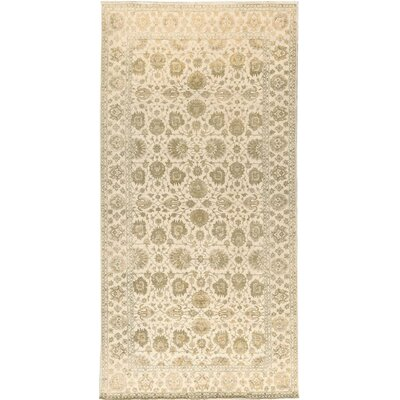 One-of-a-Kind Hand-Woven Wool Ivory Area Rug