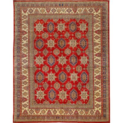 One-of-a-Kind Kazak Hand-Woven Wool Red/Beige Area Rug