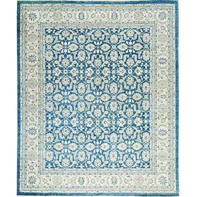 One-of-a-Kind Ziegler Hand-Woven Wool Light Blue/Ivory Area Rug