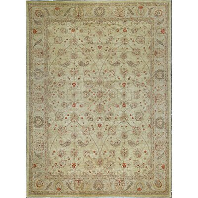 Ziegler Hand Woven Wool Beige/Light Blue Area Rug