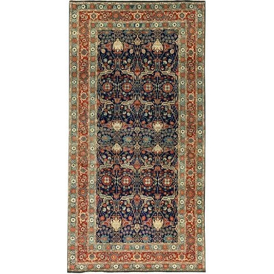 One-of-a-Kind Bakshahesh Herati Hand-Woven Wool Navy/Blue Area Rug