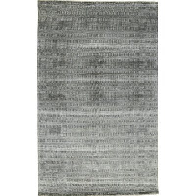 One-of-a-Kind Damask Hand-Woven Charcoal/Cream Area Rug