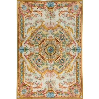 Palace Renaissance Savonnerie Hand Woven Wool Ivory/Light Blue Area Rug