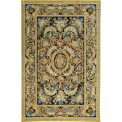 Palace Renaissance Savonnerie Hand Woven Wool Black/Gold Area Rug