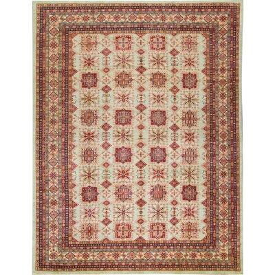 Kazak Wool Silver/Red Area Rug