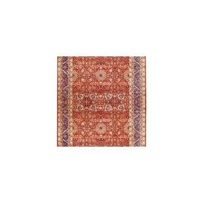 One-of-a-Kind Mama Hand-Woven Wool Red/Navy Area Rug
