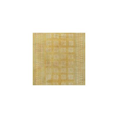 One-of-a-Kind Antique Indian Cotton Agra Circa Hand-Woven Wool Yellow Area Rug