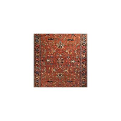 One-of-a-Kind Antique Persian Heriz Circa Hand-Woven Wool Red/Blue Area Rug
