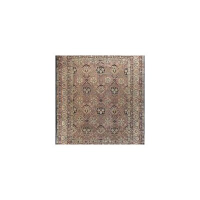 One-of-a-Kind Antique Persian Kirman Circa Hand-Woven Wool Plum/Ivory Area Rug