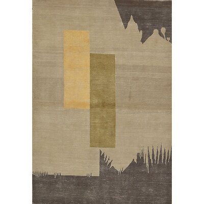 One-of-a-Kind Tibetan Hand-Woven Wool Beige Area Rug