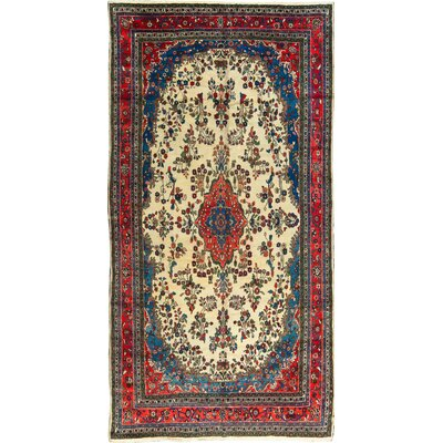 Antique Hand-Woven Wool Ruby/Blue Area Rug