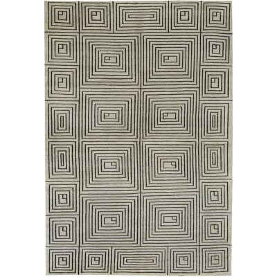 One-of-a-Kind Himalayan Hand-Woven Wool Gray Area Rug