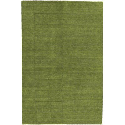 One-of-a-Kind Gabbeh Hand-Woven Wool Green Area Rug