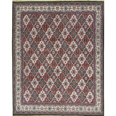 Indo Hand-Woven Wool Red/Ivory Area Rug