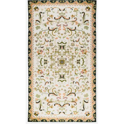 One-of-a-Kind Hand-Woven Wool Ivory/Green Area Rug