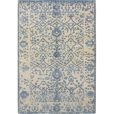 One-of-a-Kind Himalayan Hand-Woven Blue/Ivory Area Rug