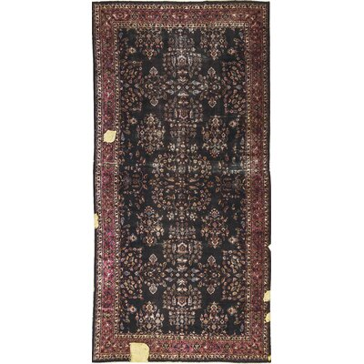 Central Hand-Woven Wool Black/Brown Area Rug