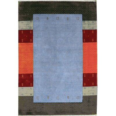 One-of-a-Kind Gabbeh Hand-Woven Wool Blue/Black/Red Area Rug