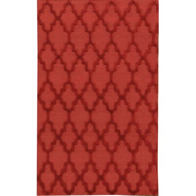Chain Link Wool Red Area Rug