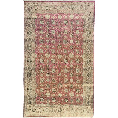 One-of-a-Kind Scattered Petals Hand-Woven Silk Pink/Beige Area Rug