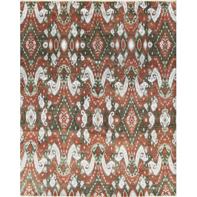 One-of-a-Kind Ikatville Hand-Woven Wool Rust/Green Area Rug