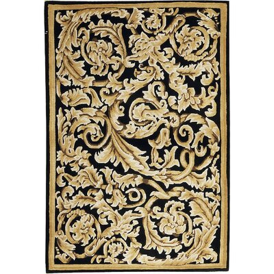One-of-a-Kind Himalayan Hand-Woven Wool Beige/Black Area Rug
