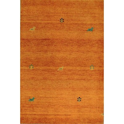 One-of-a-Kind Indo Hand-Woven Wool Orange Area Rug