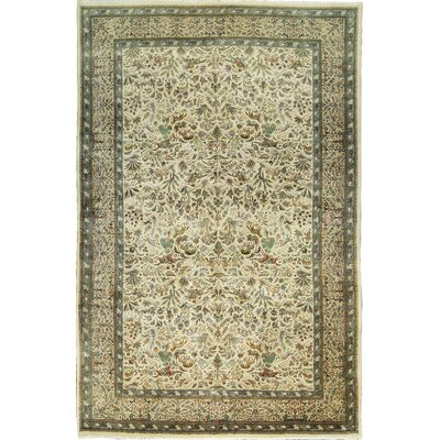 Hand-Woven Wool Green/Ivory Area Rug