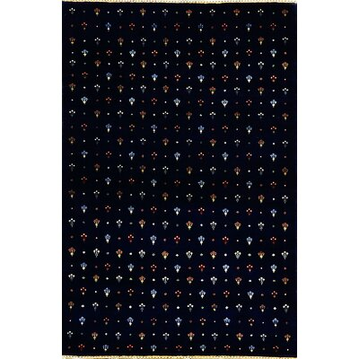 One-of-a-Kind Hand-Woven Wool Black Area Rug