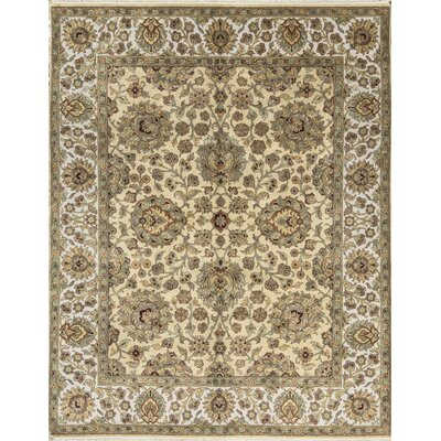 One-of-a-Kind Crown Hand-Woven Wool Green/Ivory Area Rug