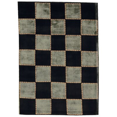 One-of-a-Kind Himalayan Hand-Woven Wool Gray/Black Area Rug