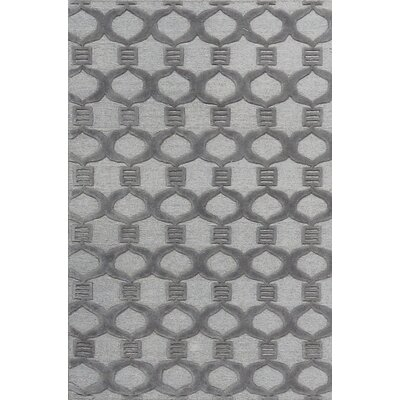 Chain Reaction Hand-Woven Wool Gray Area Rug