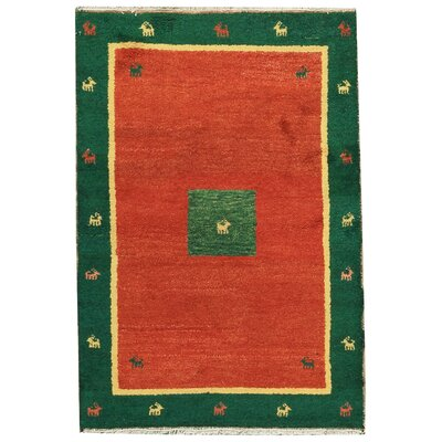 One-of-a-Kind Indo Hand-Woven Wool Orange/Green Area Rug