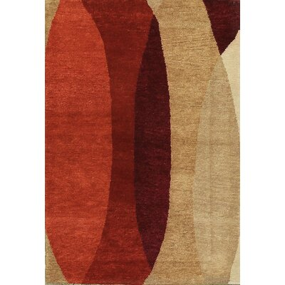 One-of-a-Kind Himalayan Hand-Woven Wool Brown/Red Area Rug
